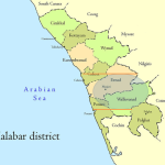 Malabar District. The outbreaks were centred in a small area (shaded) in the southern parts of the district